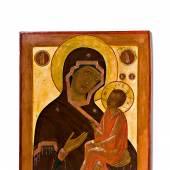 Die Gottesmutter von Tichwin. Großformatige Pfeilerikone. Russland, 19. Jh. 90 x 70 cm Ausrufpreis:5000 Euro