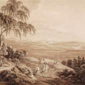 """217  Adrian Zingg """"Blick vom Borsberg bei Pillnitz über das Elbtal in die Sächsische Schweiz"""". Um 1805.  Bl. 29,9 x 44,1 cm, Psp. 46 x 60 cm, Ra. 51 x 63,5 cm.1800 €"""