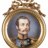 ELISA APOLLINA DEHARME (1805 – 1869), SEHR FEINE MINIATUR MIT DEM PORTRÄT ALEXANDER II. VON RUSSLAND, Frankreich, Mitte 19. Jh.,  Gouache. D. 4,7 cm