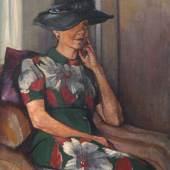 """125  Paul Wilhelm """"Bildnis Marion Wilhelm, sitzend nach rechts"""". Um 1930. 96,5 x 72,5 cm.4000 €"""