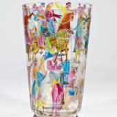 723 - Seltene Vase ''Homage to the Bayeux Tapestry (Battle for the Golden Snake)'' Sta Stanislav Libenský (Entwurf), um 1946/47  Katalogpreis: 3.000 - 4.000 €