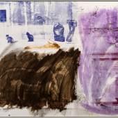 Robert Rauschenberg, Cat Lore (Urban Bourbon), 1991 Acrylic on enameled aluminium. 124.5 x 154.9 cm (49 x 61 in) ©The Robert Rauschenberg Foundation/ DACS, London, 2017. Photo: Charles Duprat