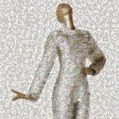 """Das Plakatmotiv der Ausstellung """"Fashion Material"""" zeigt ein Kleid aus Tetra Pack in einer verpixelten Darstellung. Grafik: LWL"""