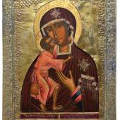 Monumentale Ikone mit der Gottesmutter Feodorowskaja mit Silberbasma