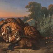Saleh Ben Jaggia Raden, Kämpfende Tiger über der Leiche eines Javaners, 1870  Foto: Johannes Stoll / Belvedere, Wien