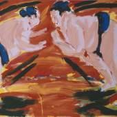 Salomé (*1954) Sumo-Angriff, 1982, Dispersionsfarbe auf Leinwand, 160 x 190 cm, Bayerische Staatsgemäldesammlungen  © VG Bild-Kunst, Bonn 2015