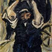 Walter Jacob, Lastenträger. Um 1920. 41,2 x 32,2 cm, Ra. 57,5 x 48,5 cm.7200 €