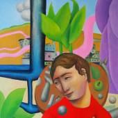 Fabien Gaeng:  Le Bonheur / Oil on canvas, 100 x 86 cm, 2017 - Courtesy of Fondation Artists-Way, Switzerland