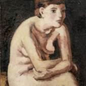 Wilhelm Heckrott, Sitzender Mädchenakt. Wohl 1920er Jahre. 80 x 56 cm, Ra. 83,5 x 59 cm.8500 €