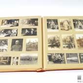 """Preußen - Konvolut: Umfangreiches und prächtiges Photoalbum, wohl eines Offiziers des Pommerschen Füsilier-Regiments """"Königin Viktoria von Schweden"""" Nr. 34, Format, 36,5 x 48,5 x 6,5 cm, 25 Seiten, rotbrauner Ledereinband"""