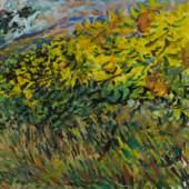 Alfred Balcarek, (1917 - 2004) Sonnenblumen, 1990 Gouache auf Papier Signiert und datiert rechts unten 50,4 x 65 cm Lot Nr. 7 Rufpreis 800€ Schätzpreis 1.600 - 2.000€