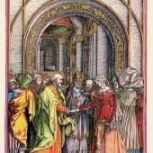 Verlobung Mariens, aquarellierter und gouachierter Holzschnitt, Albrecht Dürer, um 1504, koloriert um 1600, Museum Otto Schäfer, Schweinfurt