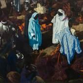 """Jacques Mojorelle, Le marché aux dattes, technique mixed sur papier, 99 x 117,50 cm. Signé et situé en bas à droite """"J. Majorelle Marrakech"""" Estimate: € 200,000 - 300,000 (c) ARTCURIAL"""