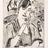 """Hermann Max Pechstein """"Junge Frau mit Zigarette (Marta Möller)"""". 1921. Pl. 39,2 x 31,5, Bl. 59,5 x 40,5 cm.2400 €"""