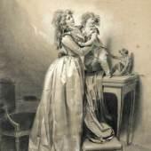 202  Louis-Léopold Boilly, Der kindliche Schrecken. Mitte 1790er Jahre. 58,7 x 42,8 cm, Ra. 69,5 x 53 cm.40.000-50.000 €
