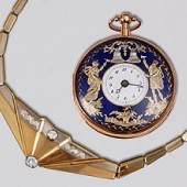Barocker Traubenpokal   Designer-Collier   Goldene Taschenuhr mit Figurenautomat   Glasgemälde C. J. B. Wetzel