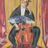 "68  Alexander Gerbig ""Der Cellist"". Wohl um 1913. 79,5 x 61 cm. Ra. 97 x 77 cm.3.000 - 4.000 €"
