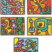 Keith Haring* (1958 – 1990) Flowers I-V, 1990 Fünf Serigraphien; gerahmt 99,5 x 129,5 cm