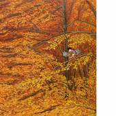 1756 Dietrich, Adolf 1877 Berlingen - 1957 ebd. «Buchen im Herbst mit Eichelhähern». Öl/Karton. Vor dem Hintergrund eines in warmen Erdtönen gemalten Herbstwaldes zwei Eichelhäher in den Baumkronen und eine Amsel auf einem Stück grüner Wiese am Fuße des Waldes. U.r. sign. und 1921 dat. Verso Etikett des Kunsthauses Mannheim, Etikett mit Nummer 21, bez., bet. und 1921 dat. sowie undeutlicher Stempel. Gewellt, min. Retuschen, kl. Farbabsplitterungen im Randbereich. H. 63, B. 52,5 cm.