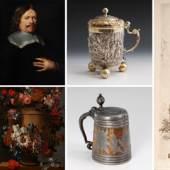 Emmanuel Villanis | Barock-Porträt | Stillleben 17. Jh. | Silberhumpen | Daubenkrug | Rembrandt (Repro)
