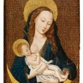 Meister der  Magdalenenlegende - Umkreis  Maria Lactans | Um 1485/90  Tempera / Öl auf Eichenholz | 43 x 29cm  Schätzpreis: 35.000 – 40.000 Euro
