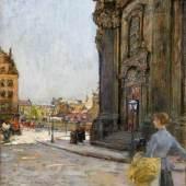 Gotthardt Kuehl Vor der Kreuzkirche in Dresden  Öl auf Leinwand | 67,5 x 47cm  Schätzpreis: 15.000 – 20.000 Euro