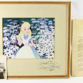 """DISNEY, WALT (1901-1966): Druck """"Alice in Wonderland""""  mit Autograph und hochinteressanter Provenienz! Reproduktion eines Animation Cells, auf Passepartout persönliche Widmung Walt Disney (gebräunt), 20x25/35x38 cm. Los 1832, Aufruf 960 Euro."""