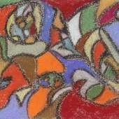 HHÖLZEL, ADOLPH ATTR. (1853-1934): Ohne Titel (Abstrakte Komposition). Ölkreide/Karton, unsign., 12,1x16 cm, Galerierahmung freischwebend. Los 1686, Aufruf 6 000 Euro.