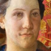 Cuno Amiet «Brustbild einer Frau, vor floral gemustertem Hintergrund». Öl/Lw. Zuschlag 45.400,- EUR*