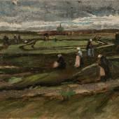 Vincent Van Gogh, Landschaft mit Netzflickerinnen, August 1882, Öl auf Papier auf Holz geklebt, 42 x 62,50 cm
