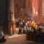 005   Carlo Canella, Blick in den Chor der Frari-Kirche in Venedig. Mitte 19. Jh. 14.000 - 18.000 €