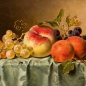 Emilie Preyer Stillleben mit Pfirsich und Aprikosen. Öl/Lw. Zuschlag 31.550,- EUR*