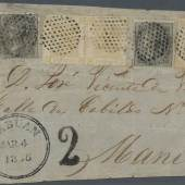 Los 864: Hongkong/ India /Labuan 1865: The famous cover front to Manila, Philippines franked by India 1856/64 4 a. black, Ausruf: 24.000 Euro