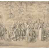 """258  Theobald von Oer """"Die Fürstin Gallitzin im Kreis ihrer Freunde"""". Vor 1864. 132,5 x 169,5 cm.7.000 - 8.000 €"""