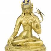 Abb. 87211: Weiße Tara, Tibet 18. Jh. (Bronze, H. 26, B. 18,5 cm), Limit 800 €, Zuschlag 185.000 €.