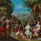 Jan Brueghel der Ältere und Hendrik van Balen Moses schlägt Wasser aus dem Felsen (um 1607) Öl auf Kupfer 42,5 x 62,5 cm 250 000 – 500 000 €