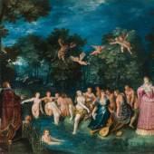 Frans Francken der Jüngere Die Göttin Diana – als dreigestaltige Mondgöttin der Fruchtbarkeit, der Jagd und der Hexerei, um 1606 Öl auf Kupfer 50,5 x 66,5 cm 100 000 – 200 000 €
