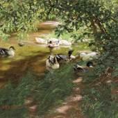 Abb. 87510: Alexander Koester, Enten auf dem Wasser. (Öl/Lw., H. 48,5, B. 68,5 cm), Limit 15.000 €, Zuschlag 15.500 €.