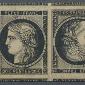Los 8778 Frankreich1849, Ceres 20 c. schwarz auf weißem Papier, allseitig weit überrandiger waagerechter Viererstreifen mit Kehrdruck  vom linken Bogenrand und großen Teilen aller Nebenmarken, ungebraucht mit Originalgummierung, Ausruf: 20.000,- euro