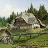 Abb. 87902: Karl Hauptmann, Schwarzwaldmühle. 1935. (Öl/Holz, H. 71, B. 92 cm.), Limit 6000 €, Zuschlag 8000 €.