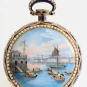 Piguet & Meylan à Brassus, 64 mm, 162 g, circa 1815  Hochfeine, bedeutende Goldemail Herrentaschenuhr mit Viertelrepetition für den chinesischen Markt , Katalog Nr. 117* Schätzpreis 80.000 - 120.000 €