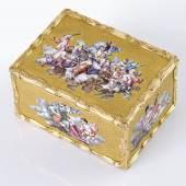 """Pierre-Etienne Buron, Paris, 80 x 60 x 43 mm, circa 1750  Museale, bedeutende Goldemail-Schnupftabakdose """"Minerva, die Mutter der Schönen Künste"""", Katalog Nr. 115* Schätzpreis 160.000 - 200.000 €"""