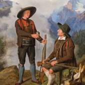 """Ferdinand Georg Waldmüller """"Zwey Tiroler auf einer Berghöhe ausruhend"""", 1829 42 x 34 cm Schätzpreis/ Estimate: 250 000 - 450 000 €"""