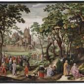 Christus begegnet dem Hauptmann von Kapernaum, altaquarellierter und -gouachierter Kupferstich, Nicolaes de Bruyn, 1603, koloriert von Hans Thomas Fischer 1678, Kunstsammlungen der Veste Coburg