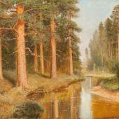 Abb. 90495: Semen Fedorovic Federov attr. , Russische Flusslandschaft mit Birken. Öl auf Leinwand. H. 60, B. 90 cm. Limit 10.000 €.