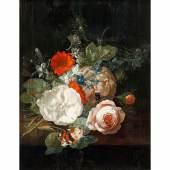 Rachel Ruysch Stillleben mit Blumen. Um 1695. Öl/Holz. Zuschlag 70.000