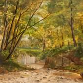 Abb. 90960: Mihály Munkácsy, «Le Parc Monceau». Öl auf Holz. H. 24,5, B. 32,5 cm. Echtheitsbestätigung von Frau Prof. Dr. Judit Boros, Budapest, liegt vor. Limit 12.000 €.