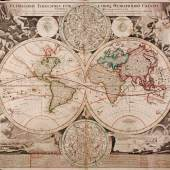 grenzkolorierte Kupferstich-Karte >Planiglobii terrestris cum utroq hemisphærio cælesti generalis repræsentatio …; Nuremberg [ca. 1720