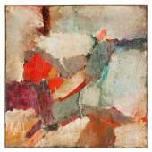 Abb. 91036: Walter Stöhrer, ohne Titel. Um 1958. Mischtechnik/Leinwand. H. 111, B. 111 cm. Echtheitsbestätigung: Photo-Zertifikat und Schriftstück vom Künstler signiert. Werkverzeichnis: Forstbauer 58.4. Limit 12.500 €.