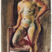 """682   Curt Querner """"Regina"""" (Stehender Akt). 1938. 3.500 - 4.000 €"""
